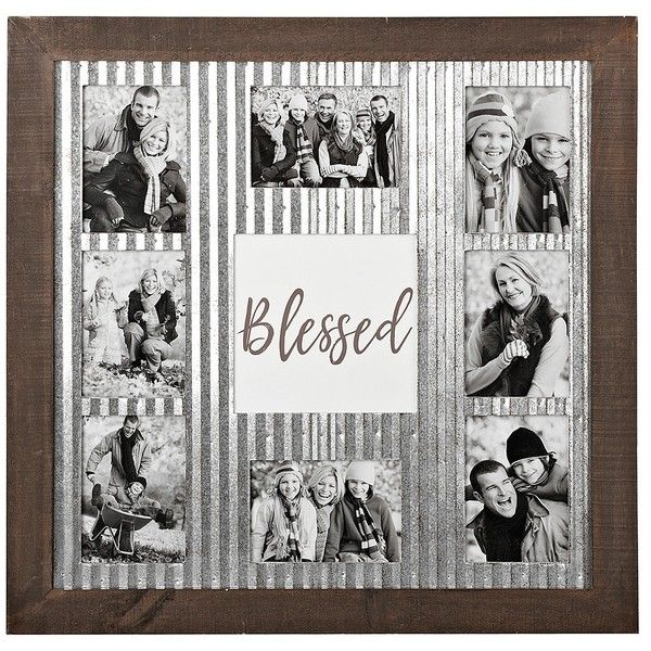 Blessed Galvanized Metal Collage Frame ($60) ❤ liked on Polyvore featuring home, home decor, frames, metal picture frames, 5x7 picture frames, 5x7 collage picture frames, 5x7 frames and collage picture frames