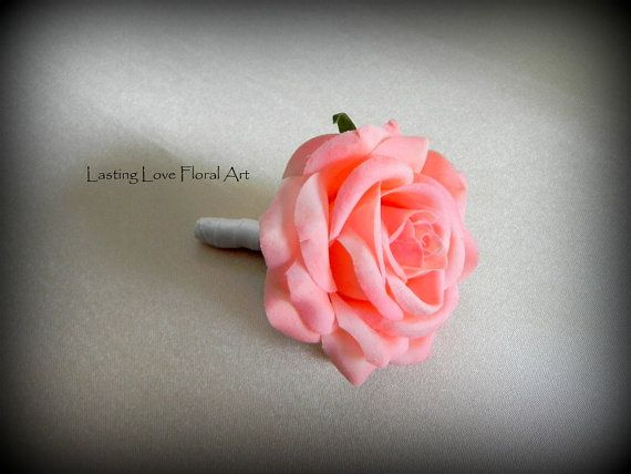 Hey, I found this really awesome Etsy listing at https://www.etsy.com/listing/234816142/coral-grooms-boutonniere-coral-rose