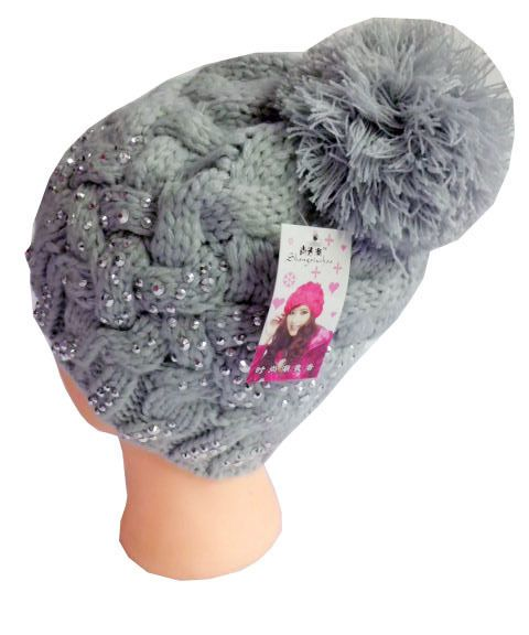 (Buy Two Get Third Free) New Gray Sparkling Ornament Acrylic Lady Winter Beanie  #Handmade #Beanie