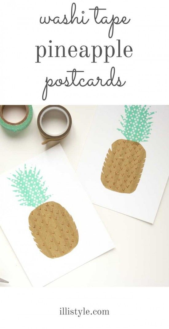 How cute are these easy to make Pineapple Washi Tape Cards from http://illistyle.com?