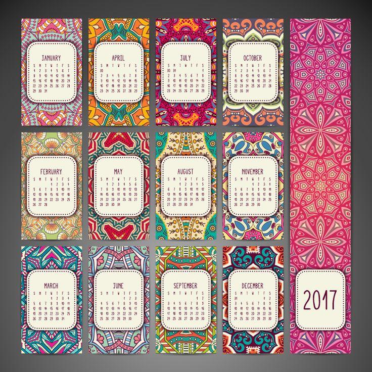 Calendario 2017 con mandalas y en vectores                                                                                                                                                                                 Más