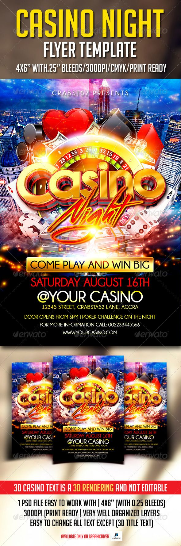 Casino Night Flyer, it is a modern psd flyer that gives best promotion for your upcoming event or any other club parties.