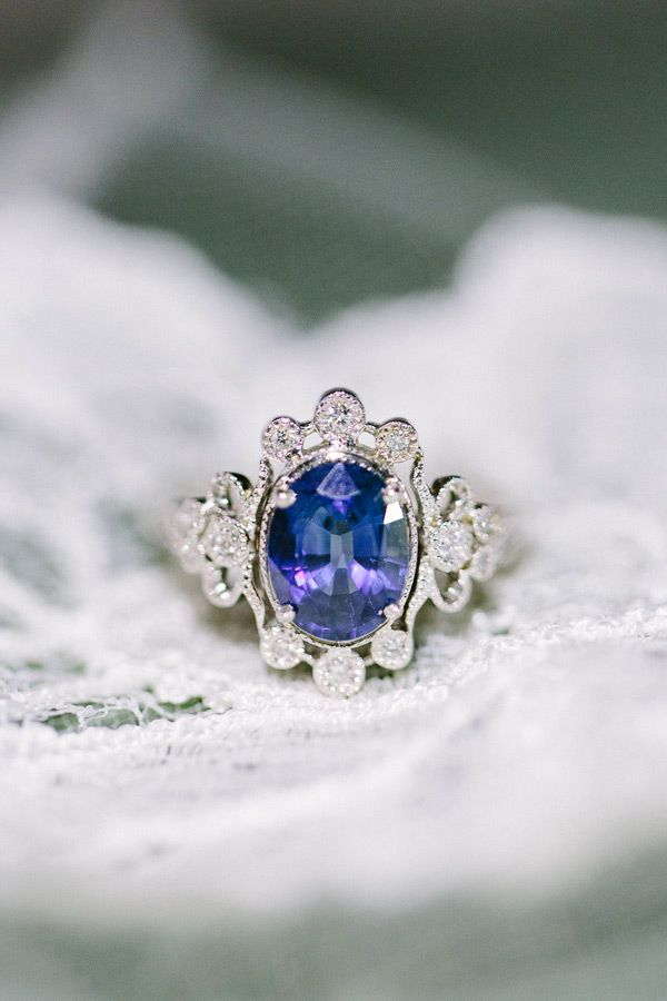 Vintage Blue Gem Engagement Ring Done By Claire Pettibone In Partnership With Trumpet And Horn