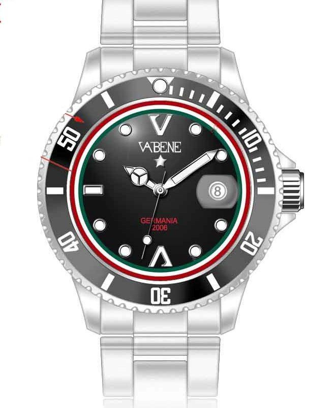 Vabene Watch Men Sport Crystal Genuine Vintage Dial Manual Wind Cartier Mens New  Vabene Chrono Collection Mens Watch MA608  Case size: 40mm diameter Swiss made quartz battery movement Silver round dial with indices Silver plastic polycarbonate case  Silver acrylic bracelet with locking clasp Fixed stainless steel bezel Date calendar function Mineral glass crystal Water resistant to 50atm Limited Edition