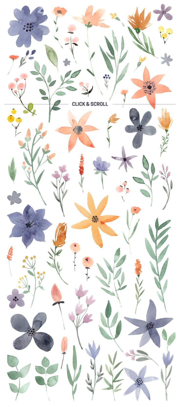 Watercolor flowers png clipart illustrations on creative market - 123 Diy Watercolor Flowers Eps Png By Favete Art On Creative Market