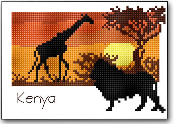 Le Kenya, c'est l'évasion à travers la savane mais aussi les plages de sable blanc, les forêts, le désert… Véritable paradis du safari photo, c'est l'occasion de découvrir une faune animale à la fois variée et fascinante, dont le célèbre duo Lion-Girafe. Le diagramme de la semaine à télécharger ici vous emmène au cœur de la savane, sous un soleil de plomb. Il vous faudra sortir une nouvelle fois les fils de couleurs chaudes pour broder ce joli coucher de soleilaccompagné de ses animaux…