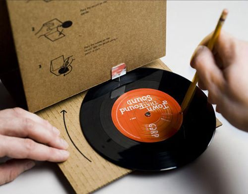 Awesome direct mail piece. It transforms from a cardboard mailing package into an LP player.