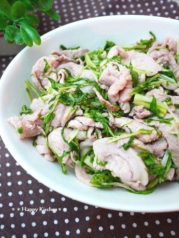 豚肉と水菜のガリバタポン酢炒め