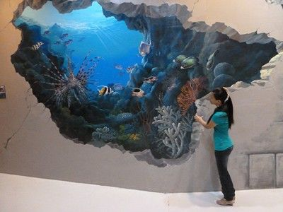 3d Shark Optical Illusions Stanley S Pictures 3d Art Comes To Pattaya Optical Illusions