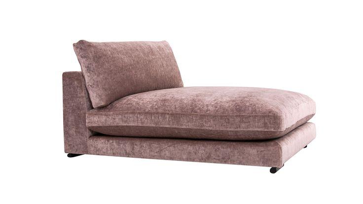 Rosa Mammuten modulsoffa loveseat i sammet. Soffa, modul, djup, schäslong, divan, låg, möbler, möbel, inredning, vardagsrum, sovrum, hall.
