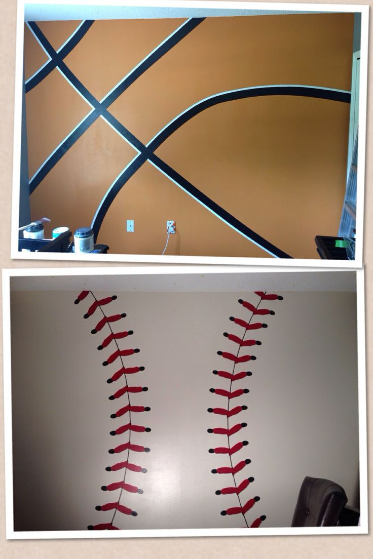 One basketball wall, one baseball for our son. Done with nothing but tape and paint! Just had to upscale an actual basketball and baseball for measurements.