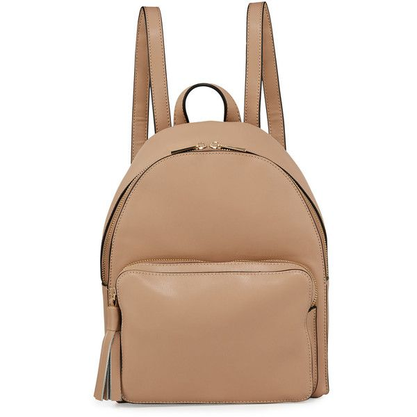 Kc Jagger Alexa Small Leather Pocket Backpack ($88) ❤ liked on Polyvore featuring bags, backpacks, beige, leather zip backpack, leather knapsack, genuine leather bags, beige backpack and leather rucksack