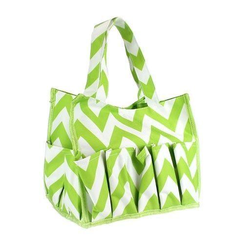 NEW-Lime-Apple-Green-and-White-Chevron-Pattern-Bingo-Bag-Tote