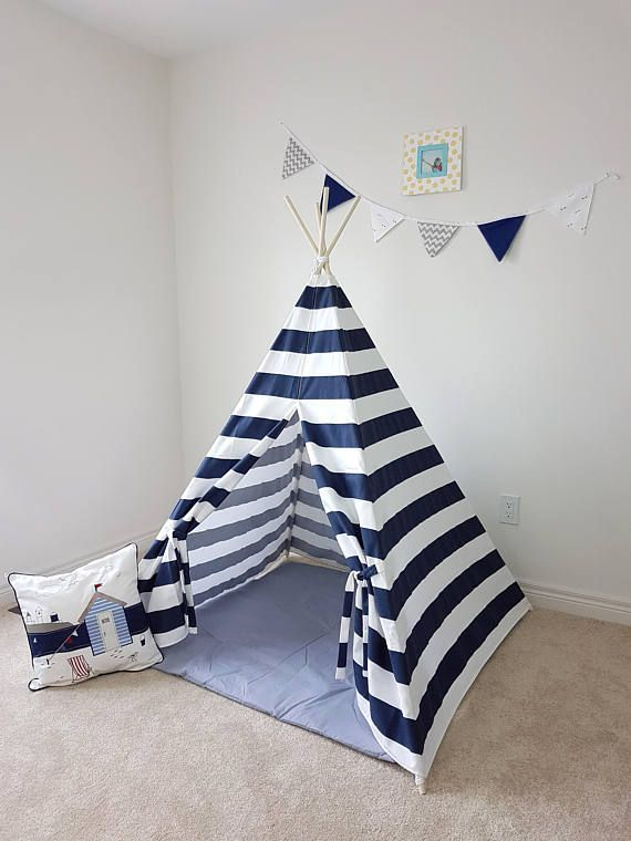 Navy White Stripes Kid's Teepee  Tent  Tipi  Playhouse