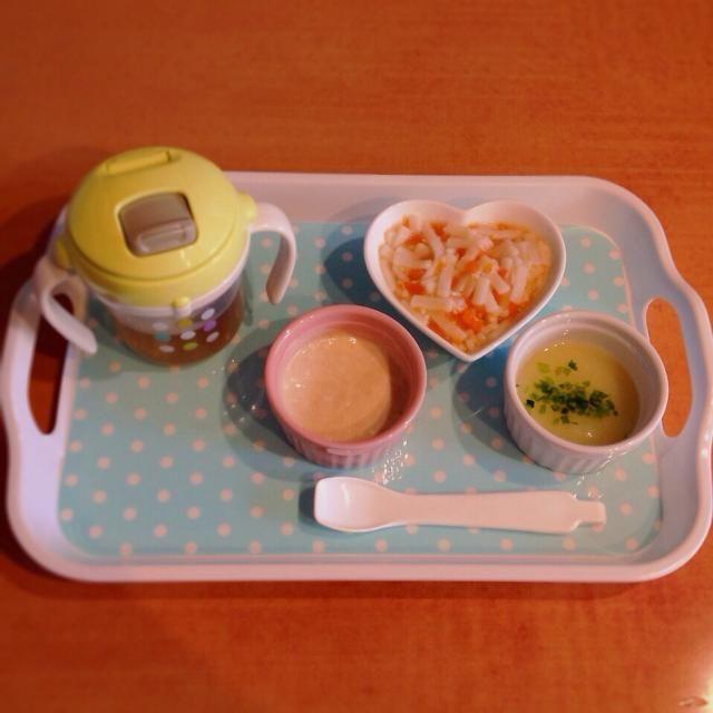 ♢ササミと人参の餡掛けうどん ♢ジャガイモスープ ♢きな粉ヨーグルト ♢麦茶 - 4件のもぐもぐ - 離乳食 by はる