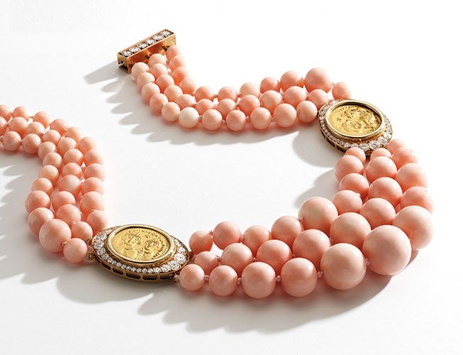 Gold, coral, coin necklace by Bulgari from early 1980s. White stones, diamonds? From Important Jewels | Sotheby's