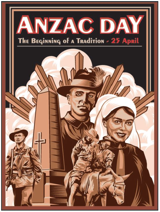 ANZAC Day. 25 April. The beginning of a tradition. FREE classroom poster with ANZAC Day teaching resources book.