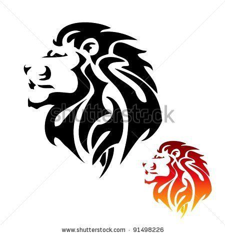 lion head tribal tattoo - stock vector