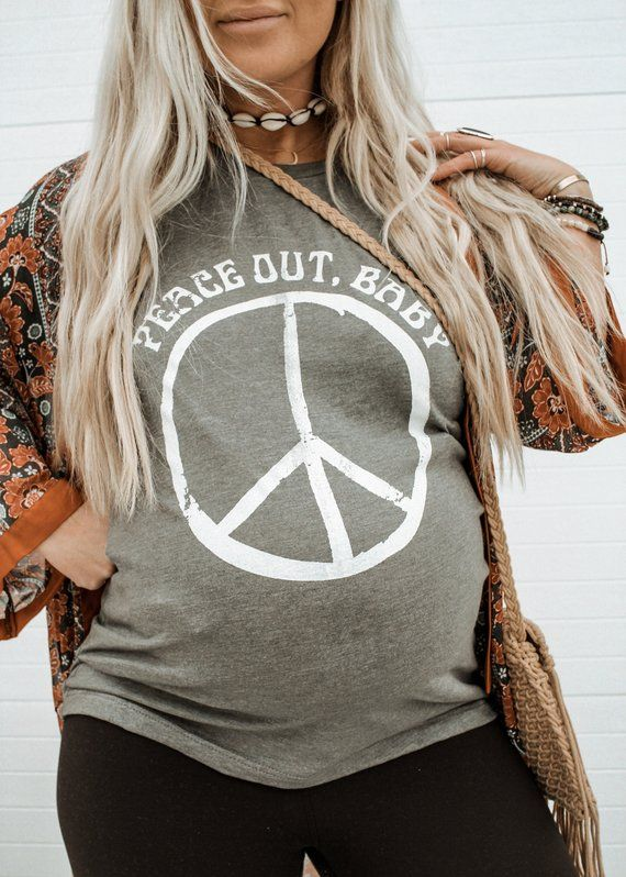 Peace Out Baby Bump Tee, Peace Out Tee, Hippie Baby Bump Tee, Boho Bump Tee, Pregnant outfit, Hippie Pregnancy, Boho Maternity Tee – Threads
