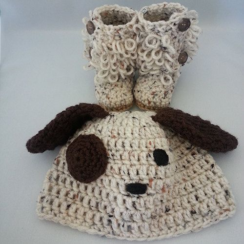Set Patch Dog Beanie and Loopy Booties by LilCuddles on Etsy