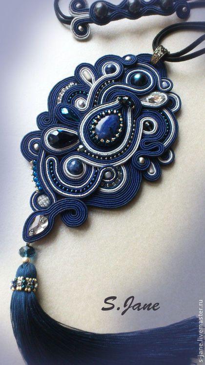 """Сутажный комплект """"Влюбленные в темно-синий"""". Handmade."""