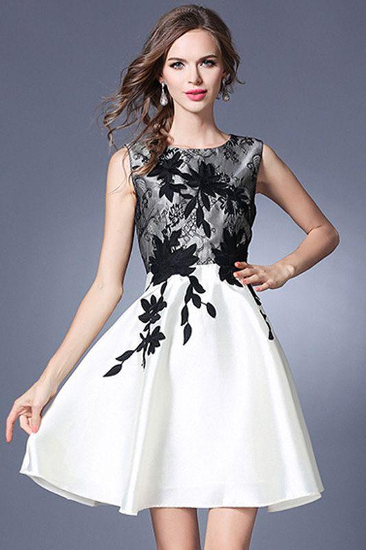 Black Embroidered A-line Dress