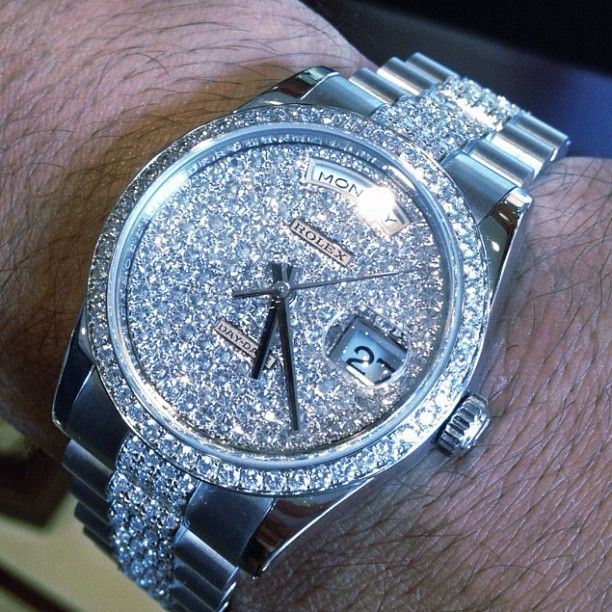 #Platinum #Rolex #Presidential Iced Out #ROLEX with the #diamonds in the face cant tell the time cause the diamonds in the facee - #MaddaloniJewelers