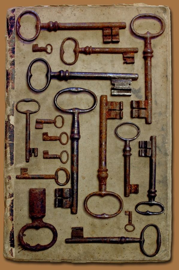 Old Keys on old book cover All Homes need interesting keys. The treasure box must be here someplace!