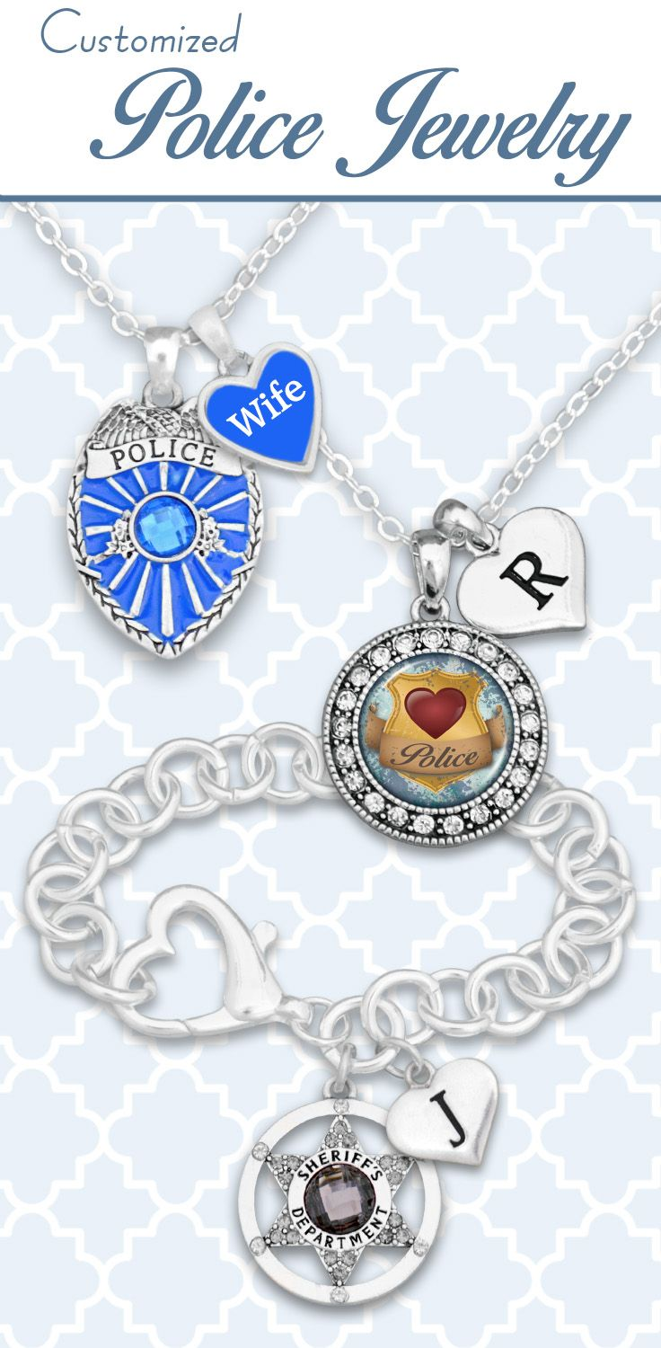 Police jewelry with custom initials and loved ones - $9.98! Wear your passion or support an officer you love with our Police Collection!