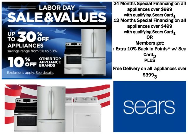Sears Appliance Labor Day Sale #parksmall #arlingtontx