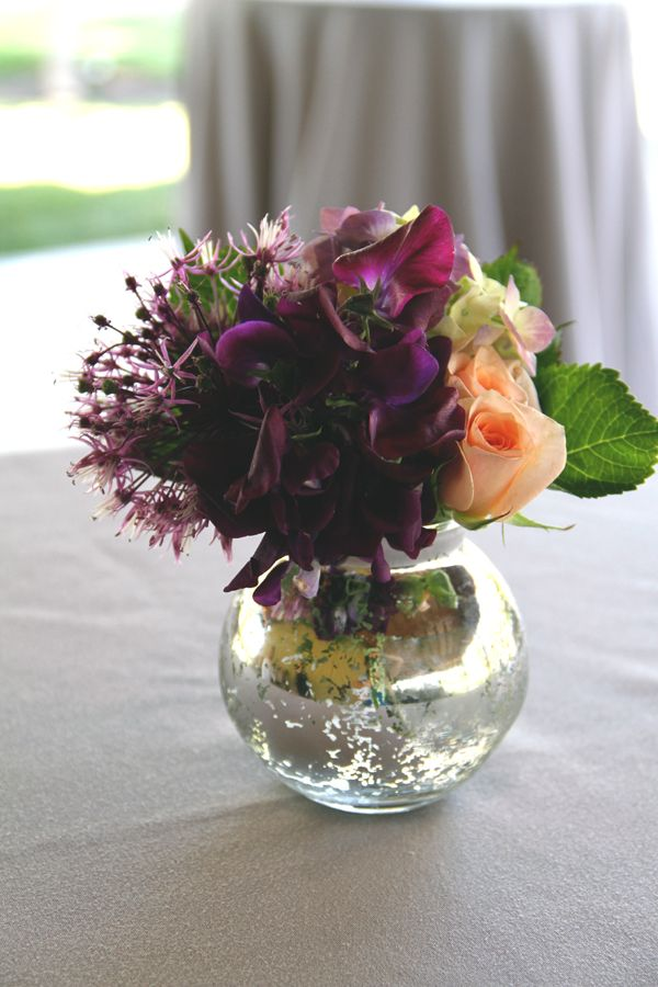 Peach & purple & mercury glass cocktail table flowers. Destination wedding Cornerstone Garden Sonoma www.fleursfrance.com