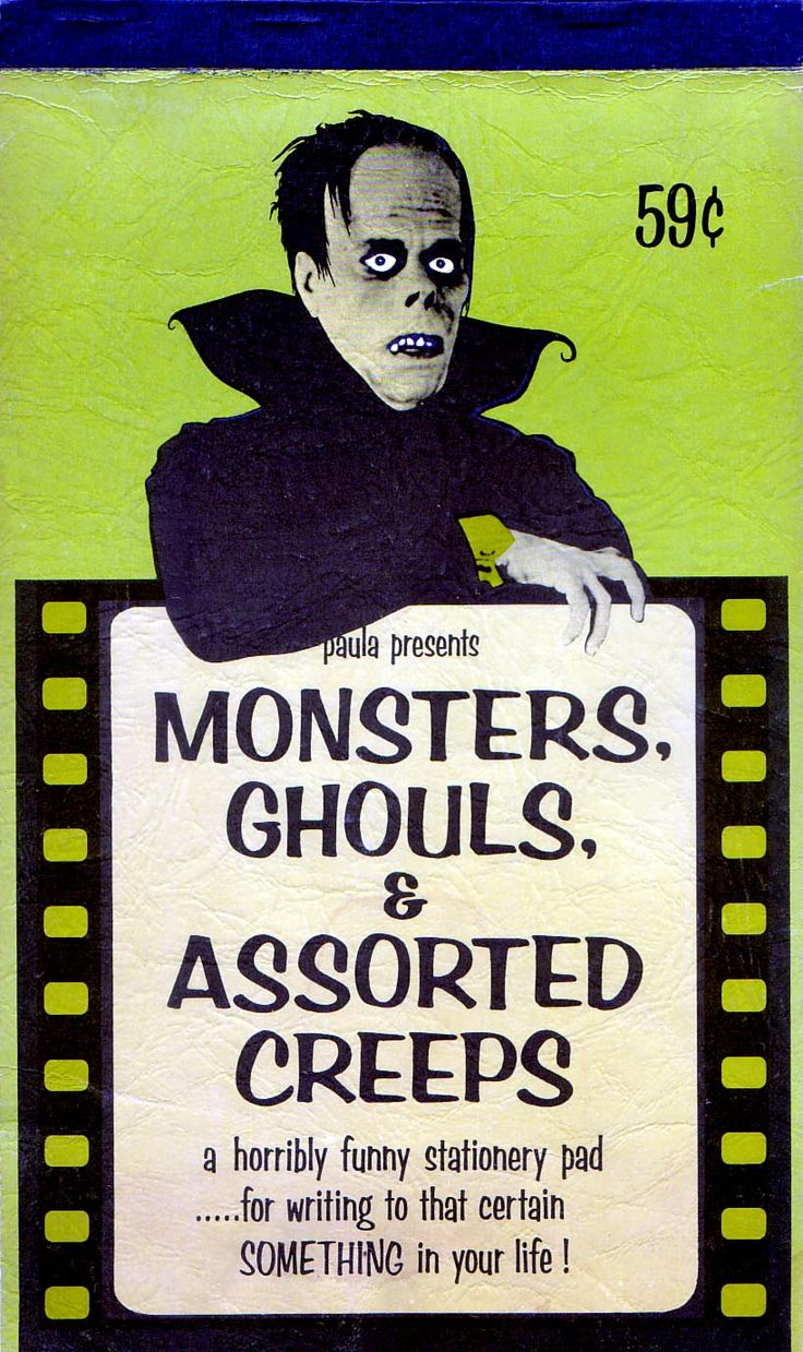 1965 Stationary Pad Monsters Ghouls u0026 Assorted