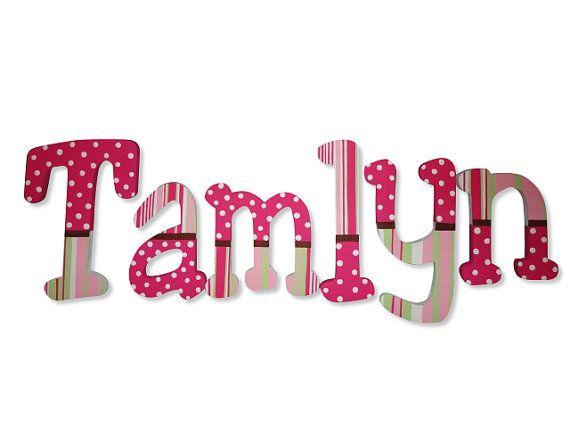 Rayas marrón rosado brillante patrones infantiles personalizados pintado a mano…