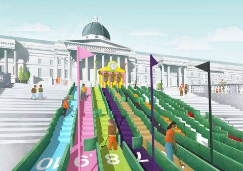 Un campo da golf a Trafalgar Square firmato da grandi architetti e designer. Parte la campagna di crowdfunding per realizzarlo