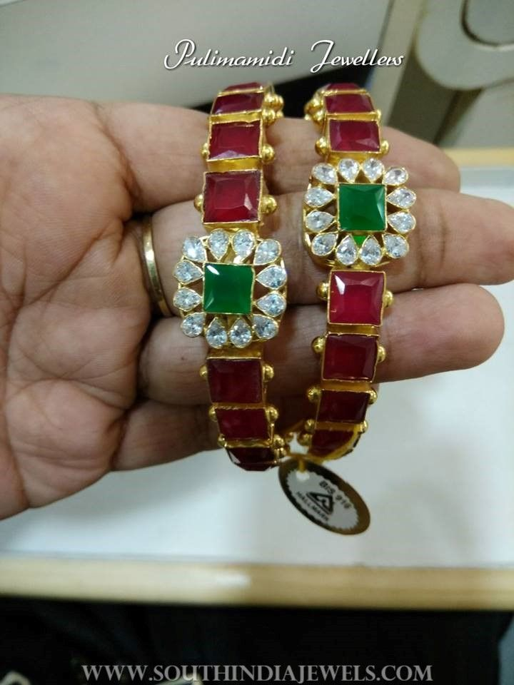 Gold Ruby Emerald Bangle From Pulimammidi Jewellers