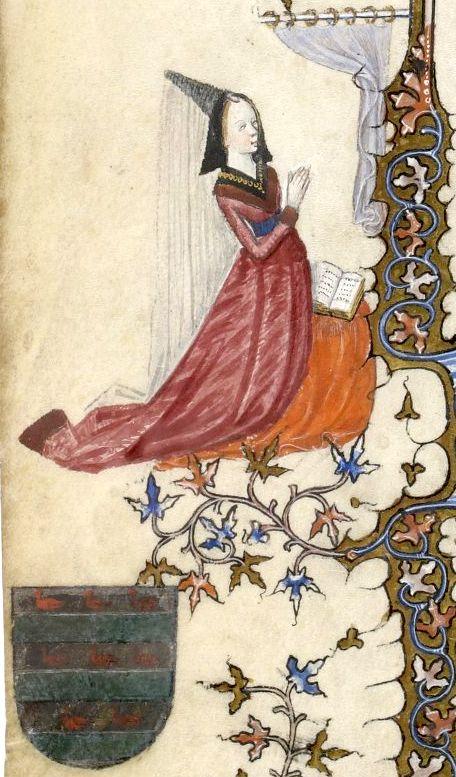 Marguerite de Beauvillier agenouillée [devant la Vierge] et écu (fascé d'argent et de sinople de 6 pièces, les fasces d'argent chargées de 8 merlettes de gueules posées 3, 3, 2) (f°1v) -- «Très belles Heures de Notre-Dame», enluminé par le Maître du Parement de Narbonne, Paris 1378-1380 [BNF Ms NAL 3093 - ark:/12148/btv1b84496839]