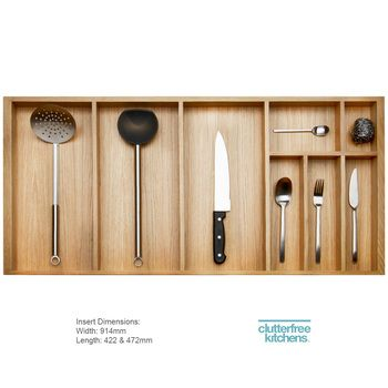 1000mm Wood Cutlery Tray - Clutterfree kitchens