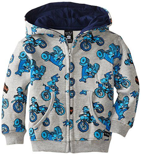 Paul Frank Little Boys' Toddler Motor Cross Hoodie, Grey Heather, 4T