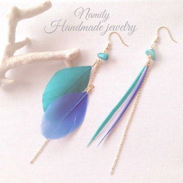 ↞↞Namily Official ↠↠ @mrs.namily - New♡Blueee feather earrings 新作 のフェ... • Yooying