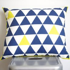 Tri geo cushion. Indigo and yellow. on trend colours for A/W 2014