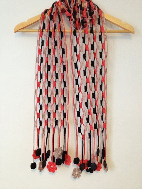Écharpe florida em crochet com missangas by GabyCrochetCrafts