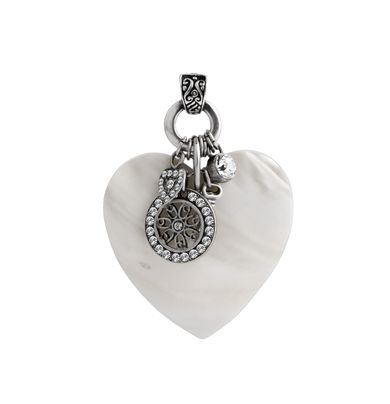 EN1113 - White mother of pearl heart adorned with Swarovski crystal charms