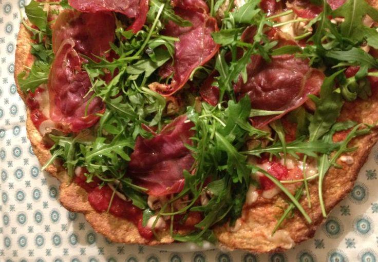 377 Kcal. pr. portion  Pizza (4 pers.) 80 g lufttørret skinke i tynde skiver 800 g spidskål 200 g quinoamel 2 spsk. fiberHusk 3 æg 3 æggehvider 2 tsk. salt  400 g flåede tomater oregano salt og peber 200 g. champignon 100 g reve