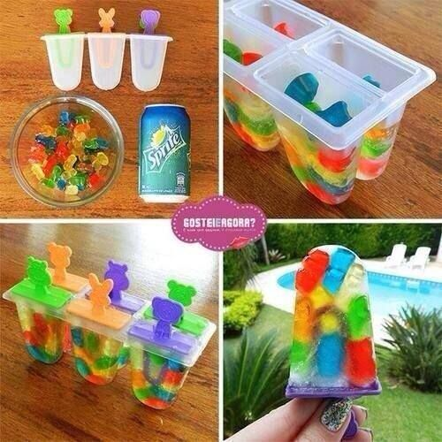 DIY Sprite Gummy Bear Popsicles