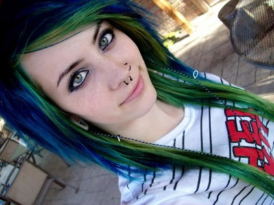 unusualHair Ideas, Hair Colors, Blue Green, Blue Hair, Green Hair, Emo Hair, Hairstyles Ideas, Scene Hair, Colors Hair
