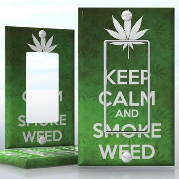 DIY Do It Yourself Home Decor - Easy to apply wall plate wraps   KEEP CALM AND SMOKE WEED  Green weed background with a white leaf  wallplate skin sticker for 1 Gang Decora LightSwitch   On SALE now only $3.95