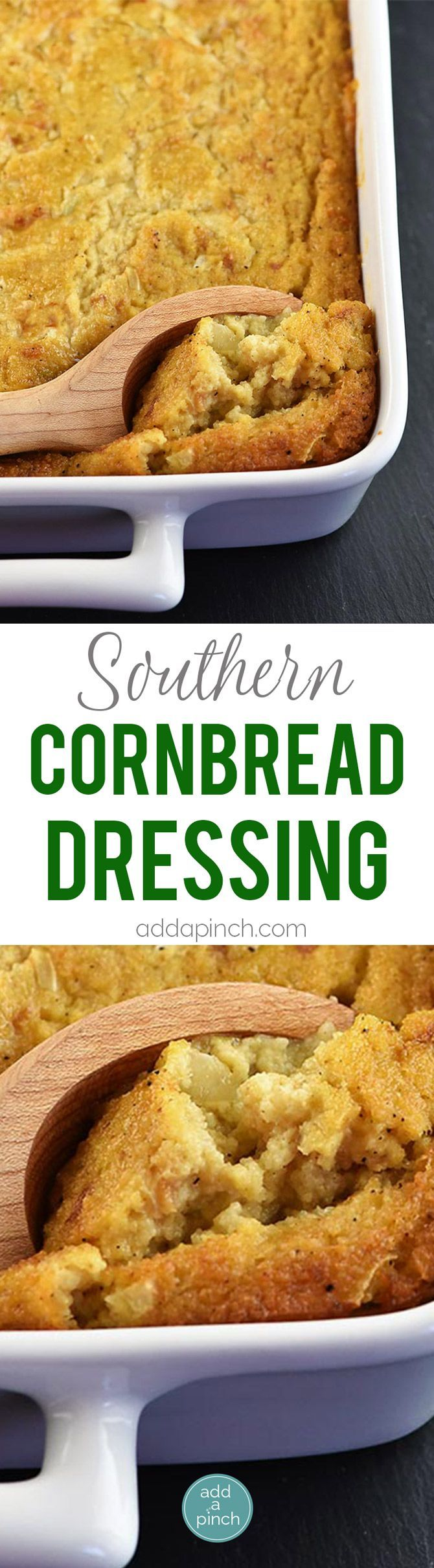 Southern Cornbread Dressing - Southern Cornbread Dressing makes a comforting, classic dish for the holidays! Moist and delicious, cornbread dressing makes the perfect side dish! // addapinch.com