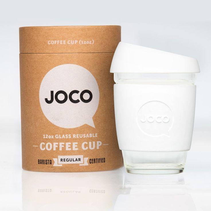 Amazon.com | JOCO 12oz Glass Reusable Coffee Cup (White): Coffee Cups & Mugs