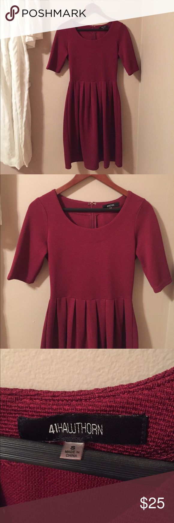 41 Hawthorn Maroon Skater Dress This was purchased in a stitch fix box. Very high quality dress. Fitted material with some stretch. Quarter sleeve with zip back. Like new condition. No flaws. Worn one time for tv news broadcast. 41 Hawthorn Dresses Midi
