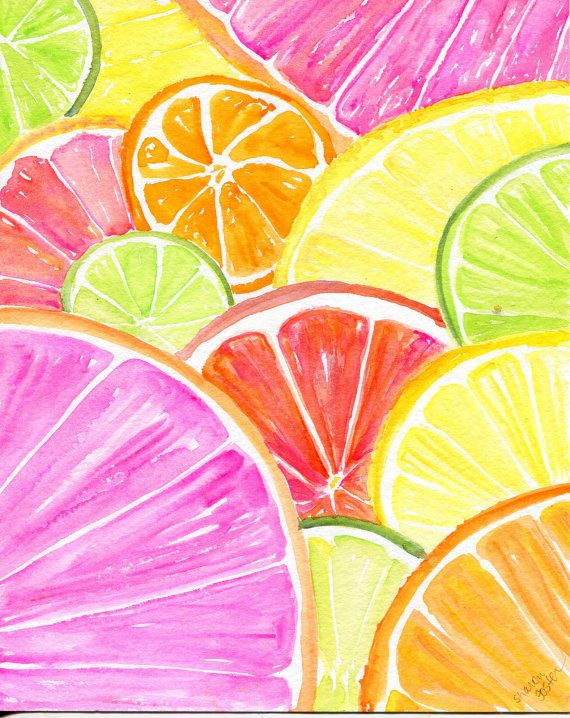 Citrus watercolor painting original, 8 x 10 Tutti Frutti Grapefruit, Lemon, Orange Lime, Watercolor Citrus watercolor painting original, 8 x 10 Tutti Frutti Grapefruit, Lemon, Orange Lime, Watercolor